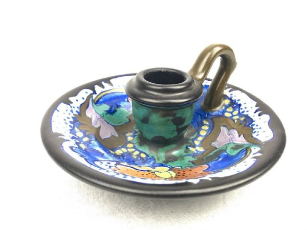 Gouda Pottery Chamber Stick / Vase / Blue / Brown / Turquoise / Art Deco 1927